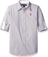 U.S. Polo Assn. قميص رياضي للأولاد بأكمام طويلة من القطن مطبوع عليه مخططة
