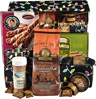Gift Basket Village Festive Lights Holiday Coffee Lover Care Package - Loaded wih Deluxe Coffee Blend, Tiramisu Wafer Rolls, Java Cinnamon Sweet Sticks and More..., 6 Pounds