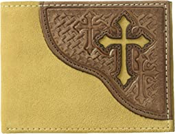 Embossed Tab with Cross Bifold Wallet