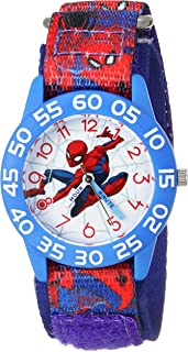 MARVEL Boys Spider-Man Analog-Quartz Watch with Nylon Strap, Blue, 16 (Model: WMA000191)
