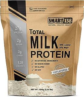 Total Milk Protein // 80%Casein 20%Whey // Gluten-Free, Soy-Free, Non-GMO, USA, Keto Low Carb, Natural BCAAs (1000g / 2.2l...
