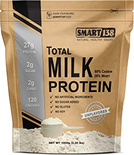 Total Milk Protein // 80% Casein 20% Whey // Gluten-Free, Soy-Free, Non-GMO, USA, Keto Low Carb, Natural BCAAs (1000g / 2.2lbs, Unflavored)