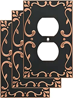 Franklin Brass W35071V-VBC-C Classic Lace Single Duplex Wall Switch Plate/Cover, 3 pack, Bronze With Copper Highlights