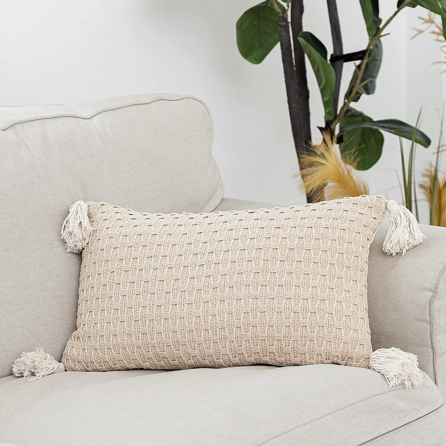 Snugtown Excellence Farmhouse New color Decor Throw Lumbar Tassels Pillow Cover with