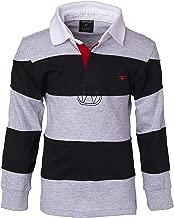 Sportoli Boys 100% Cotton Wide Striped Long Sleeve Polo Rugby Shirt
