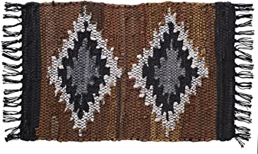 HF by LT Snake River Canyon Handwoven Leather Placemats, 13 x 19 inches, Reversible, Recycled Leather and Soft Cotton, Geometric Design, Multi-Colored, Set of 4