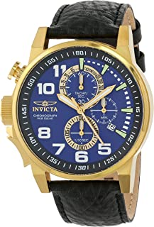 Men's 13055 Force Chronograph Blue Dial Black Leather Watch