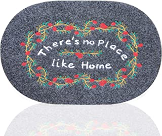 Welcome Mats for Front Door Outdoor Doormat Outside Entry with Non Slip Rubber Back Low Profile Gray Door Mats for Patio P...
