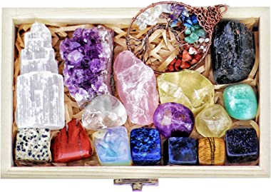 16 Natural Healing Crystals Set in Wooden Box - Tumbled Gemstones, Rough & Raw, Including Selenite Tower, Raw Black Tourm
