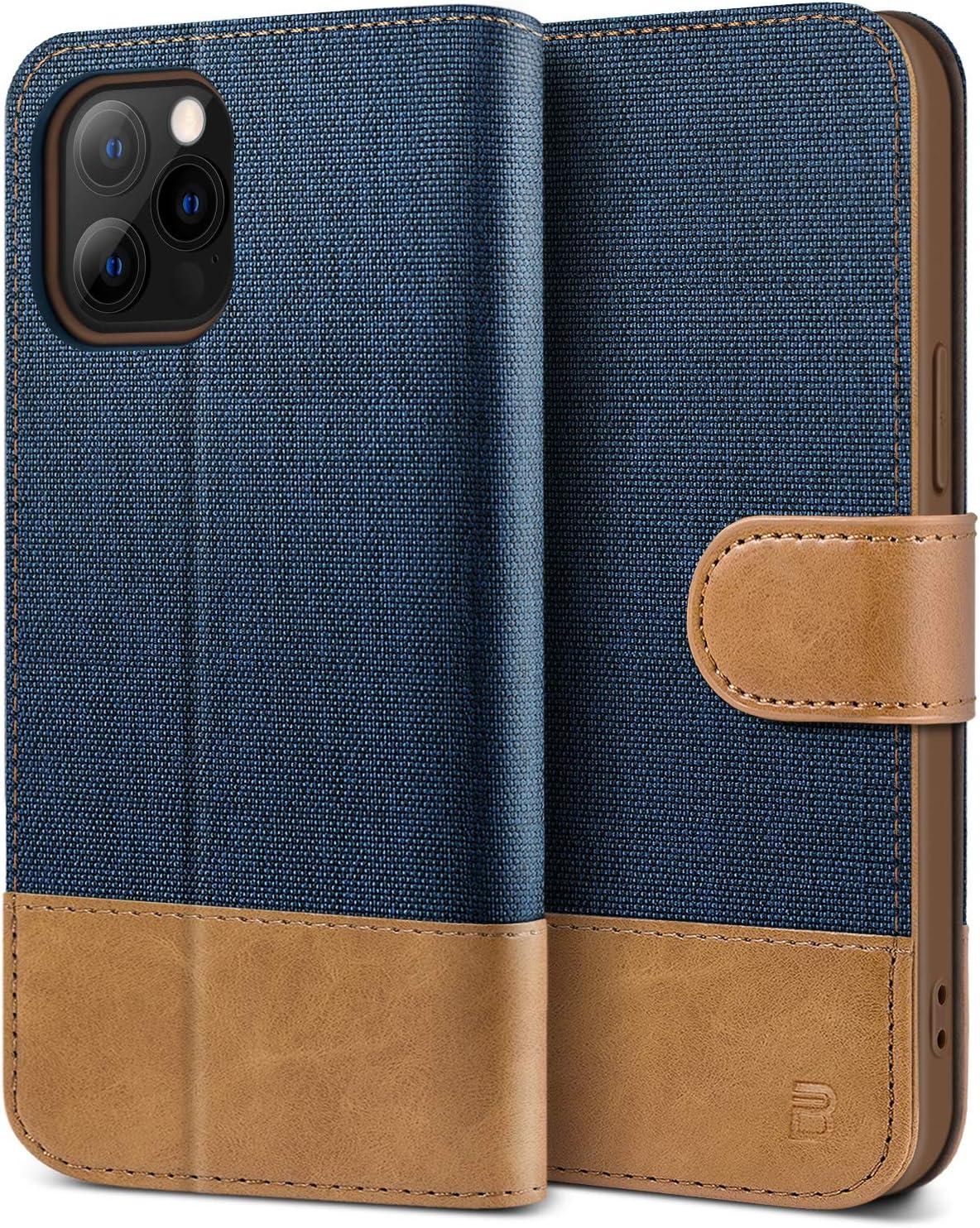 BEZ Funda iPhone 12, Funda iPhone 12 Pro, Carcasa para iPhone 12 / iPhone 12 Pro Libro de Cuero con Tapas y Cartera, Cover Protectora con Ranura para Tarjetas y Billetera, Cierre Magnético, Azul