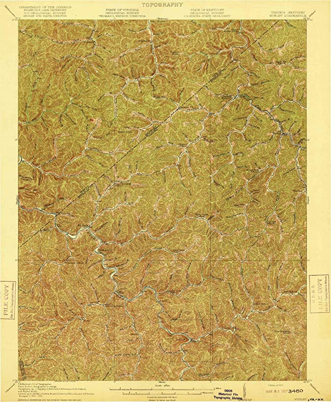 YellowMaps Hurley VA topo map, 1:62500 Scale, 15 X 15 Minute, Historical, 1917, 19.4 x 16 in