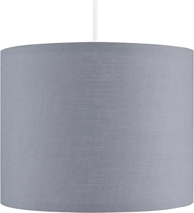 Small Modern Grey Polycotton Ceiling Pendant/Table Lamp Drum Light Shade