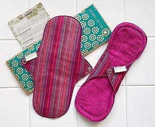 普通の日用2枚セット 南インド「Eco Femme」布ナプキン 洗えるオーガニックコットン(肌面色付き)防水あり・内側に5層のフランネル使用