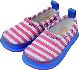 [スキッポン] 子ども 靴 ボーダーピンク(ホワイト) SKP-0058-16 ベビー (ソール 青) 16 cm