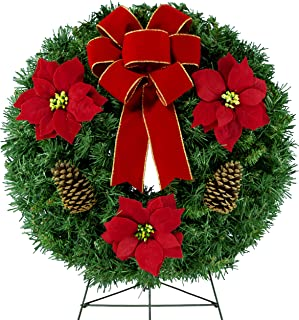 Sympathy Silks Christmas Memorial-Wreath Décor – Red Poinsettias and Pinecones with a Hand-Tied Bow - Artificial Greenery Wreath - Fade Resistant