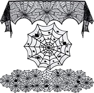 3pack Halloween Decorations Set Halloween Tablecloth Black Lace Round Spider Cobweb Table Cover Fireplace Mantel Scarf Spiderweb Fireplace Scarf for Halloween Party