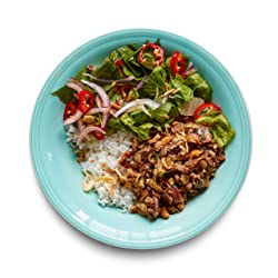 Amazon Meal Kits, Mushroom Rice Bowl with Romaine Lettuce & Mint Salad, Serves 2