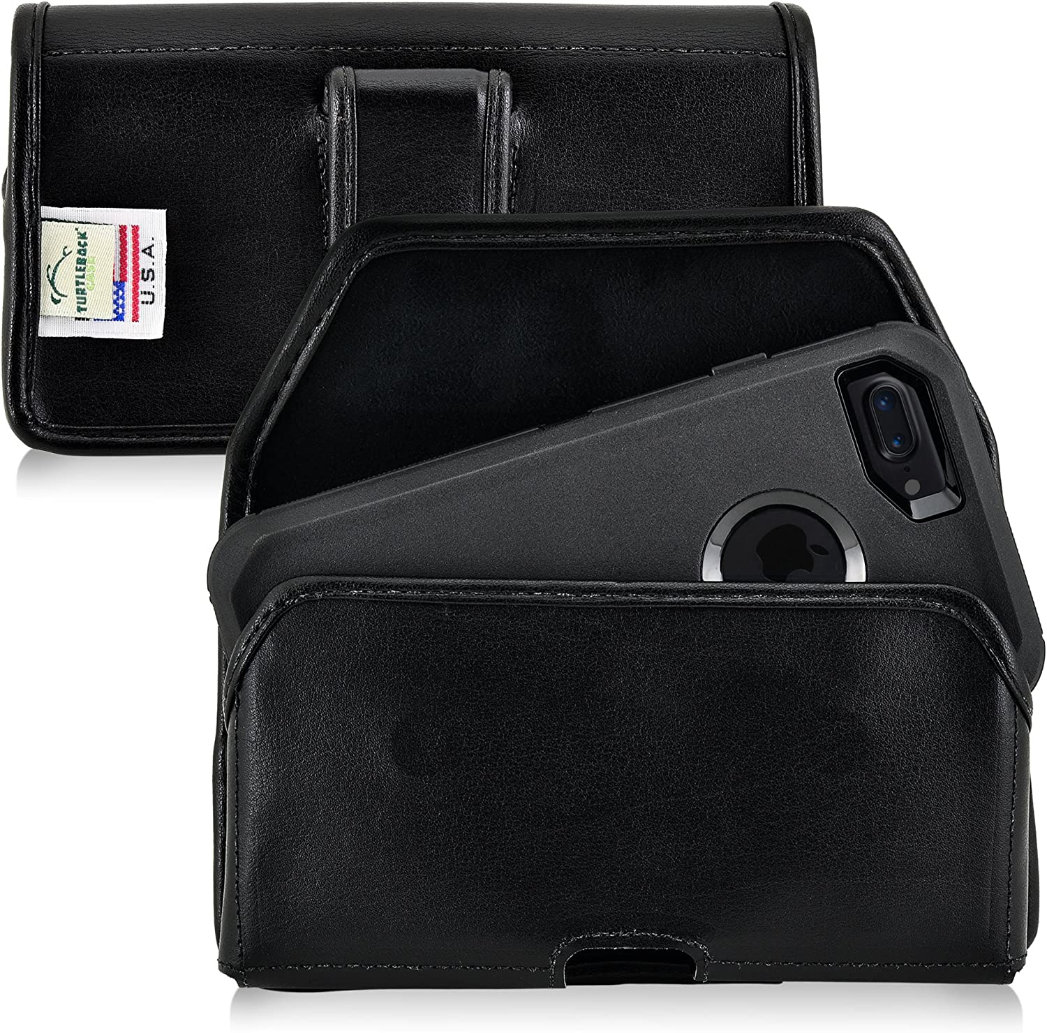 Turtleback Holster Compatible with iPhone 8 & iPhone 7 Fits w/OB Defender or Bulky Cases, Black Belt Case Leather Pouch with Executive Belt Clip Horizontal Made in USA