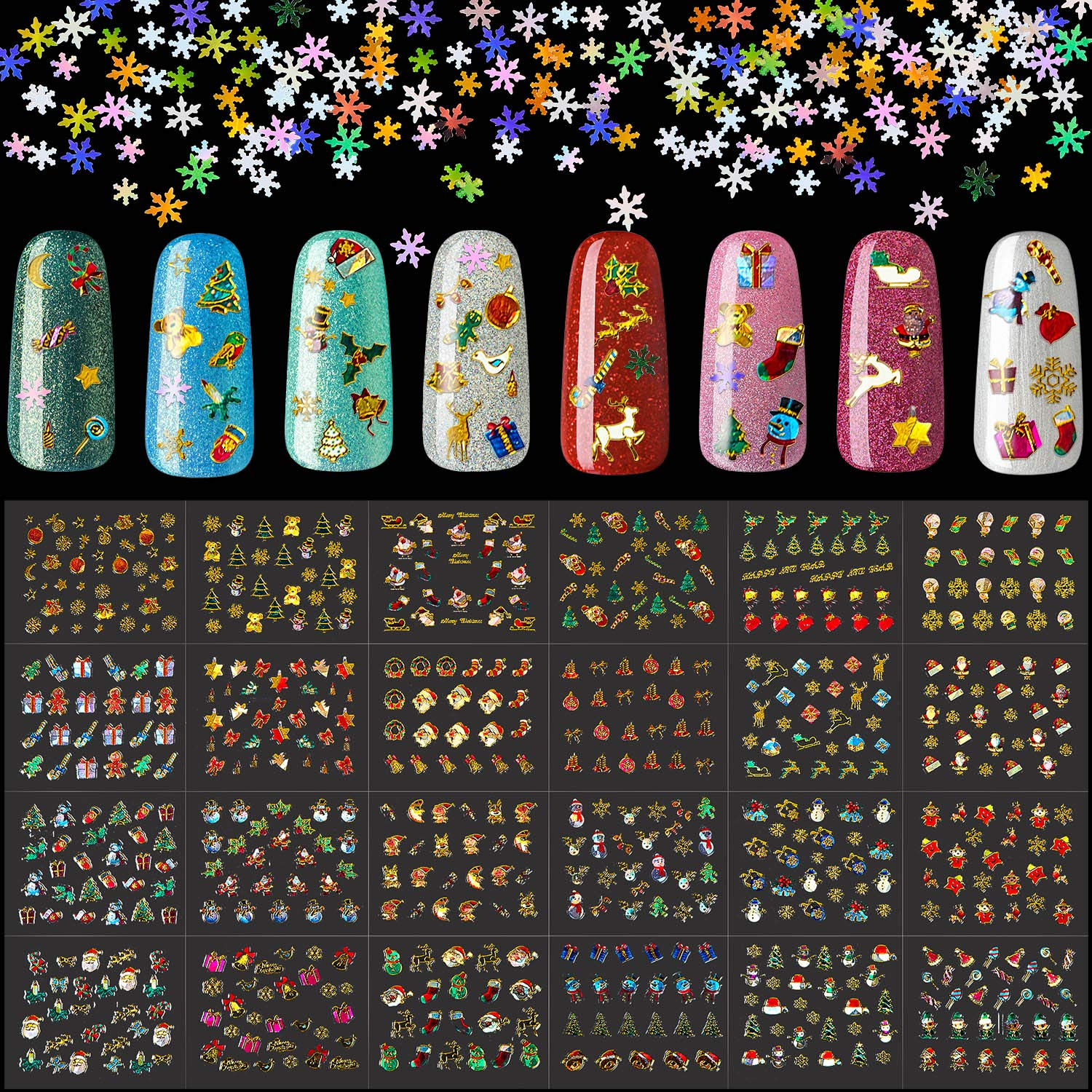3000 online shopping Pieces Christmas Nail Art Sequins Fort Worth Mall Inclu Snowflake Stickers