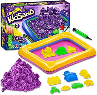 Kidsand 3.5 lbs - Magic 4 Color Sand - 8 Shaping Molds for Play Sand - Sand for Children with Kinetic Properties - Kids Sa...