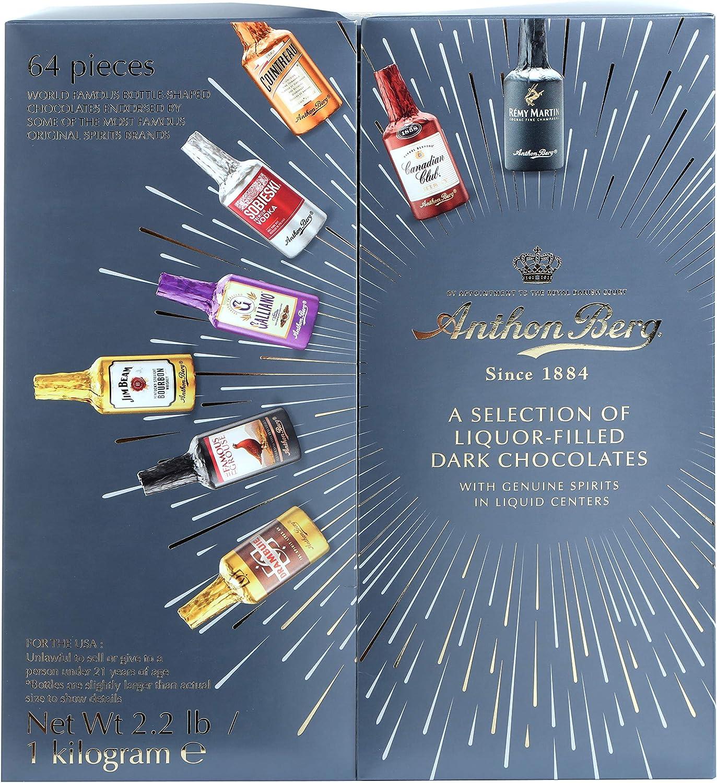 Paquete surtido de caja de regalo de chocolates oscuros rellenos de licor Anthon Berg (paquete de 64)