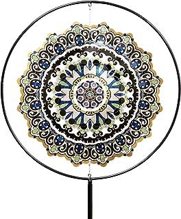 Exhart Blue Mandala Wind Spinner Garden Stake – Mandala Art Pinwheels Stake in Blue Geometric Pattern 3D Design with Laser Cut Metal Blades, Best as Kinetic Art Yard Decor, 26