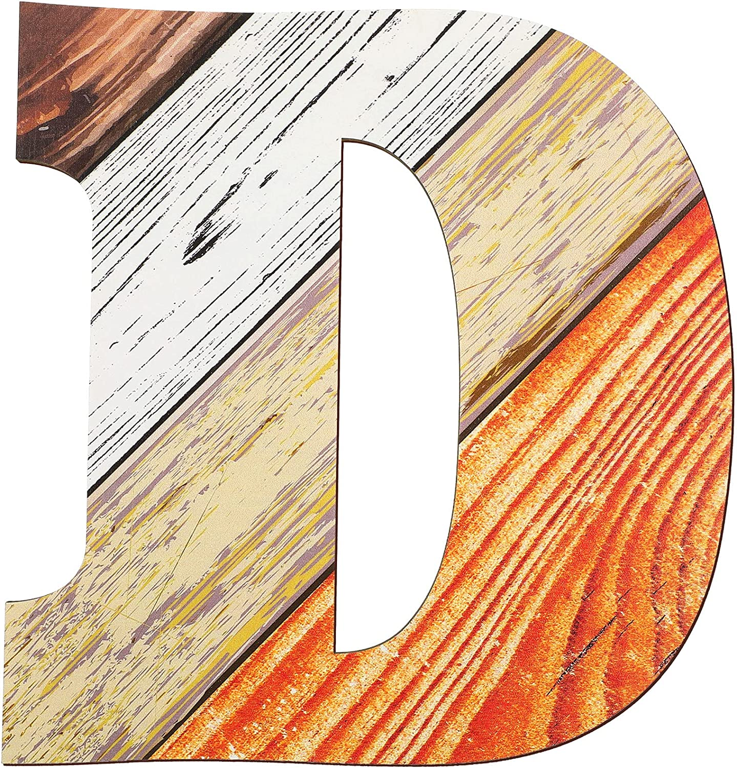 12 Inch Wood Textured Pattern Letters Number Home Decor Sign Wooden Letters and Character for Home Decor DIY Wedding Party Home Decoration Alphabet Education (D)