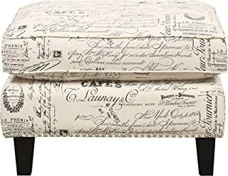 Picket House Furnishings Emery Ottoman in French Script