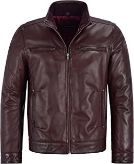 New Men's 999 Oxblood Soft Retro Biker Style Zipped Casual Bomber Leather Jacket (L)