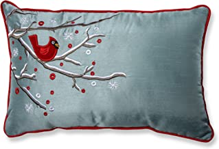 Pillow Perfect Rectangular Holiday Cardinal on Snowy Branch Throw Pillow, 11 x 17, Silver/Red