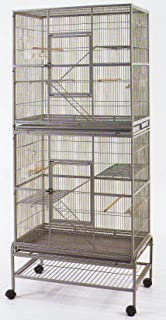 Mcage New Large Double Stackable Wrought Iron Cage with Removable Rolling Stand for Both Small Animal or Bird, Black Vein