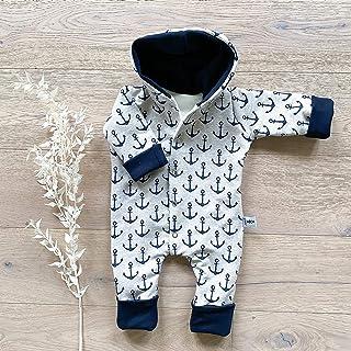 Sharlene Babymode Overall Anker beige meliert - Navy - mit Kapuze und umklappbarer Arm- und Beinbündchen Baby Jungen Mädchen Winter