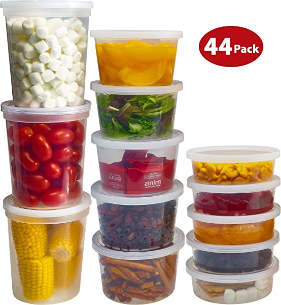 DuraHome Food Storage Containers With Lids 8oz 16oz 32oz Freezer Deli Cups Combo Pack 44 Sets BPA Free Leakproof Round Clear Takeout Container Meal Prep Microwavable 44 Sets Mixed Sizes