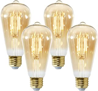 Light Society Set of 4 Holland ST21 Amber LED Vintage Filament Light Bulbs - Energy Star Certified (LS-ST21-LF62A-X4)