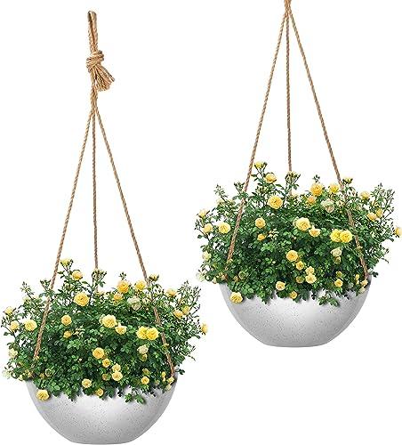 lowest VIVOSUN Hanging online Planters Baskets for Indoor Outdoor Plants Garden Planters popular Flower Plant Pots, 2 Same Pieces 10 Inch sale