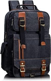 Leaper Canvas Backpack for Men Unisex Laptop Bag Travel Bag Rucksack Bag Black