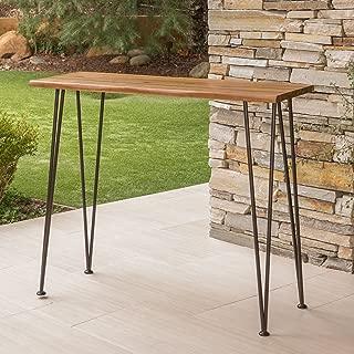Daniel | Outdoor Industrial Acacia Wood/Iron Bar Table | in Rustic Metal and Teak Finish