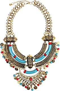 Womens Antique Silver/Gold Alloy Vintage Boho Bohemia Turquoise Necklace Ethnic Tribal Beaded Coin Choker Necklace Chunky Statement Necklace