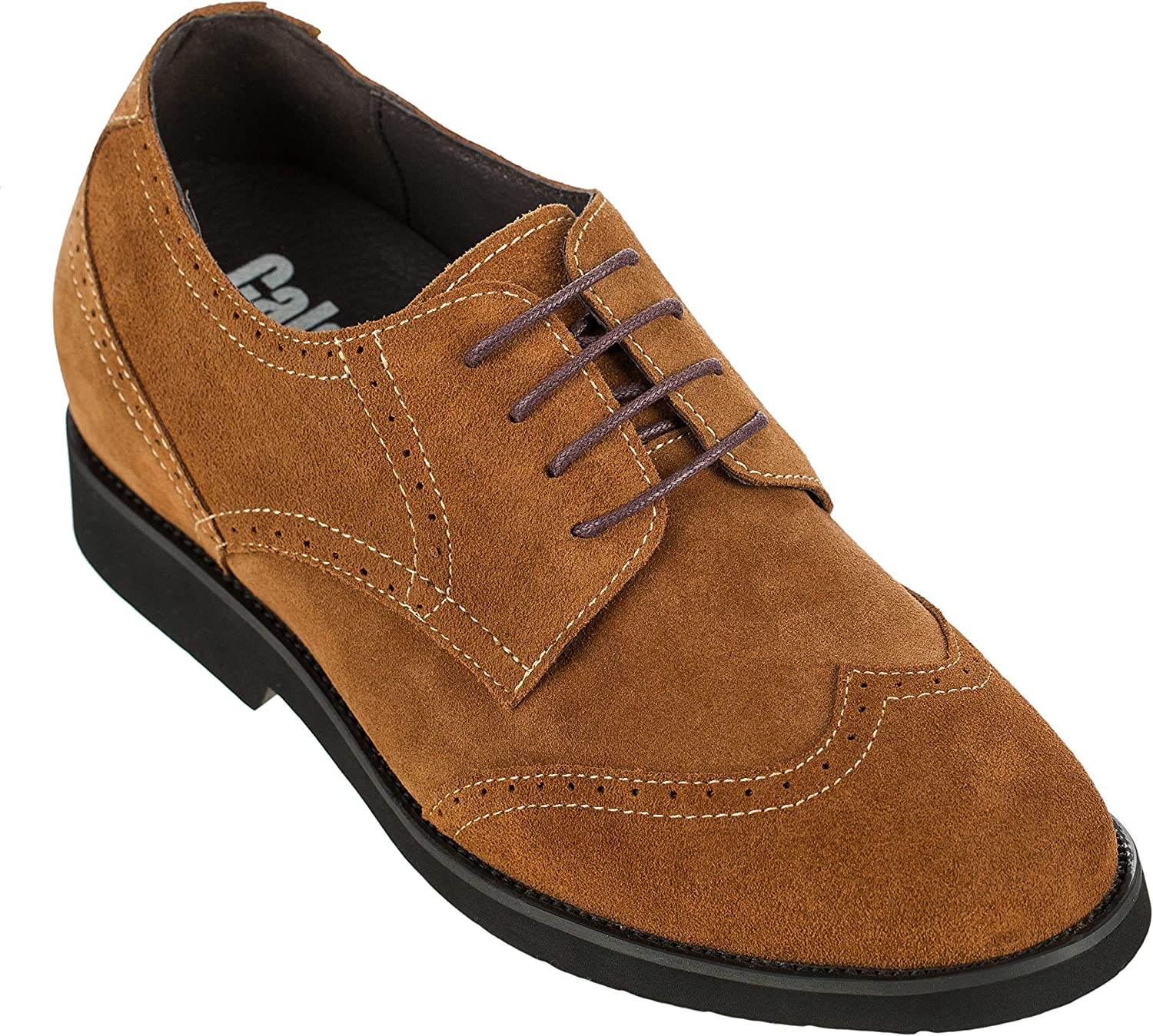 Calden - K221212-2.6 Inches Taller - Height Increasing Elevator shoes (Brown Suede Lace-up)