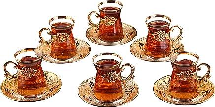 (مجموعة من 6) طقم كؤوس الشاي التركي DEMMEX مع حامل، صحون وملاعق، 24 قطعة، 113.4 جم (ذهبي)