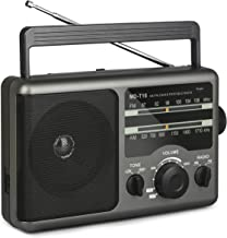 AM FM Portable Radio Battery Operated Radio by 4X D Cell Batteries Or AC Power Transistor Radio with and Big Speaker, Standard Stereo Earphone Jack, High/Low Tone Mode, Large Knob