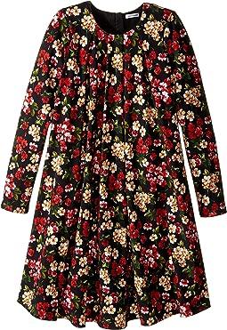 Back to School Floral Long Sleeve Dress (Big Kids)