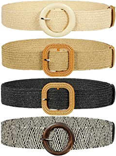 4 Pieces Woven Elastic Waist Belt for Women Straw Woven Style Skinny Dress Belt Waist Band with...