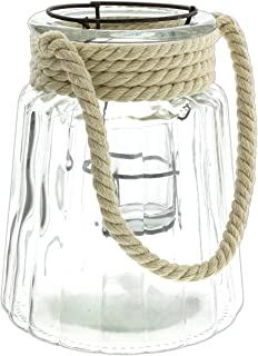 Lucky Winner Clear Glass Candle Lantern Vase with Rope Handle (7