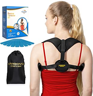 Back Posture Corrector for Men and Women - with Carry Bag, Kinesiology Tape, and Underarm Pads – for Back Support, and Slouching Correction – Discreet, and Comfortable to Wear All Day – FDA Approved
