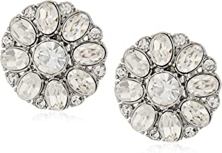 Carolee Button Silver White Clip-On Earrings