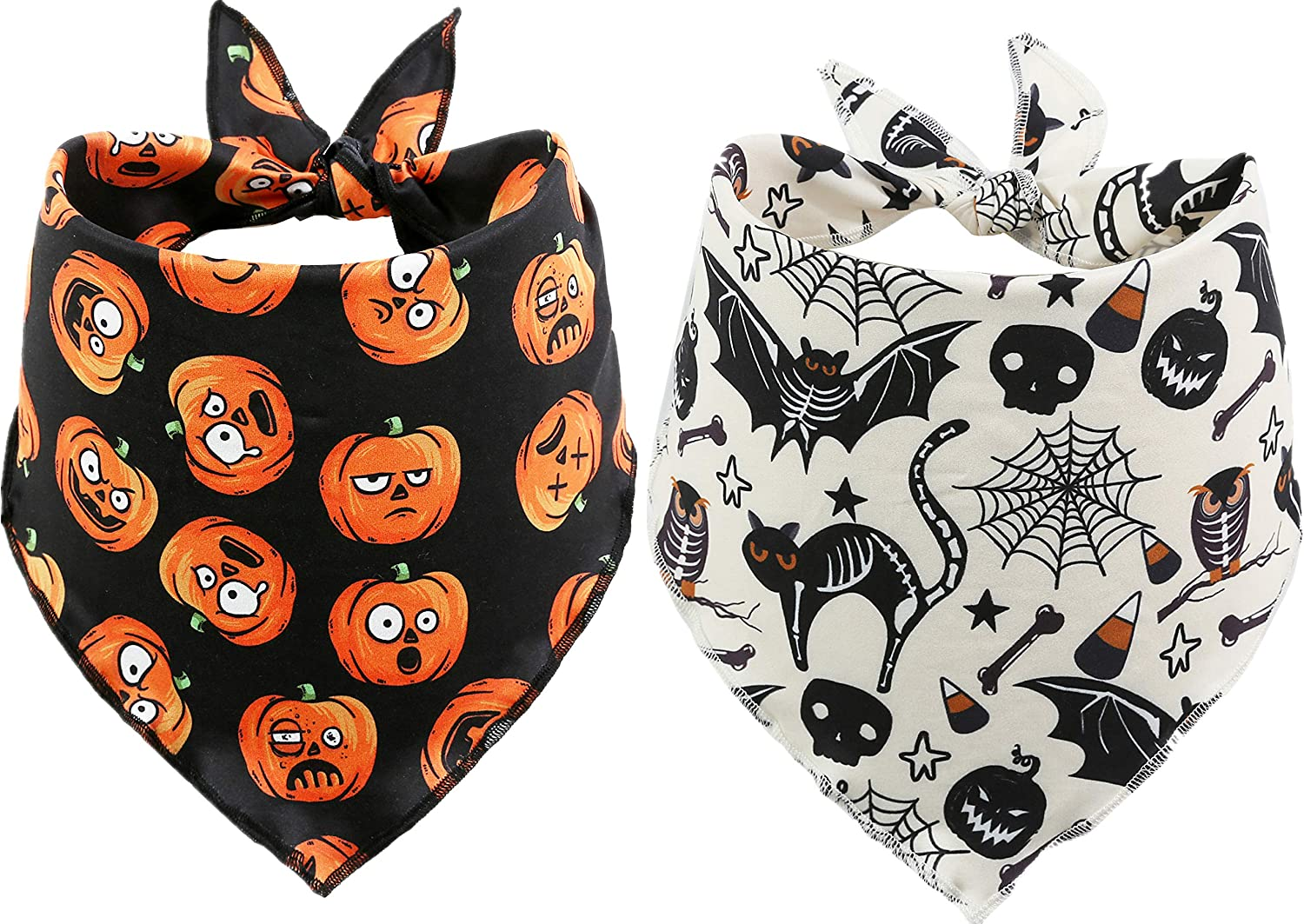 BoomBone 2 Pack Complete Free Shipping Bargain sale Halloween Bandana for Sca Dogs Bibs Pet Triangle