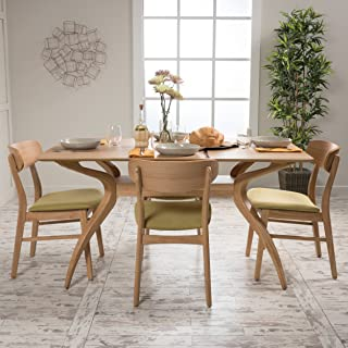 Christopher Knight Home 299328 Leona Mid Century Natural Oak Finish 5 Piece Dining Set (Green Tea)