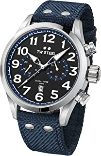 TW Steel Men's Volante Stainless Steel Japanese-Quartz Watch with Nylon Strap, Blue, 24 (Model: VS38)