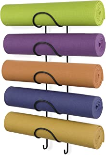 Wallniture Wall Mount Yoga Mat Foam Roller and Towel Rack for Your Fitness Class or Home Gym,  Metal,  5-Sectional,  Black